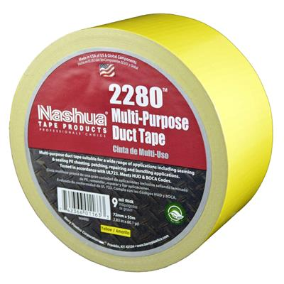Cloth Duct Tape - Polyethylene Coated Yellow 2280 72MMx55M 9MIL 16/CS