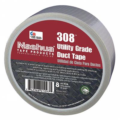 Cloth Duct Tape - Polyethylene Coated Silver 308 48MMx55M 8MIL 24/CS 648/SKID