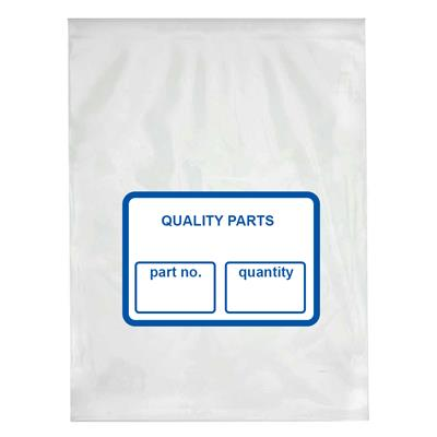 Bags Poly - Parts Clear/White & Blue Block PPB 9INx12IN 2MIL 1000/BX