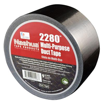 Cloth Duct Tape - Polyethylene Coated Black 2280 48MMx55M 9MIL 24/CS