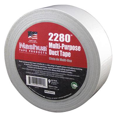 Cloth Duct Tape - Polyethylene Coated White 2280 72MMx55M 9MIL 16/CS
