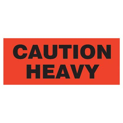 "Labels - ""Caution Heavy"" Black/Neon Red BR188 2INx5-3/8IN 500/RL"