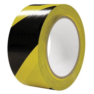 PVC Tape - Lane Marking Striped Safety Black/Yellow LMT 48MMx33M 6MIL 12/CS