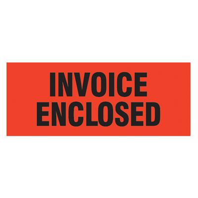 "Labels - ""Invoice Enclosed"" Black/Neon Red MPL110 2INx5IN 500/RL"