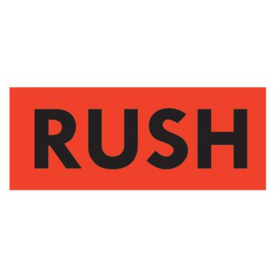 "Labels - ""Rush"" Black/Neon Red MPL115 2INx5IN 500/RL"