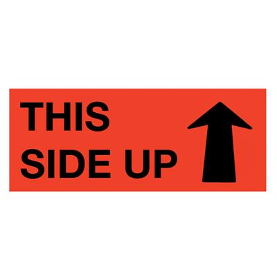 "Labels - ""This Side Up"" (C/W Arrow) Black/Neon Red MPL104 2INx5IN 500/RL"